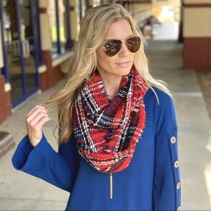 Red plaid soft infinity scarf